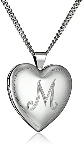 Rhodium-Plated Initial''M'' Heart 26mm (1'') Locket Necklace, 24'' by Amazon Collection