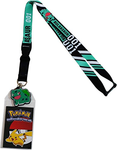 Pokemon Bulbasaur 001 Exclusive Lanyard with ID Badge Holder & PVC Rubber Charm -