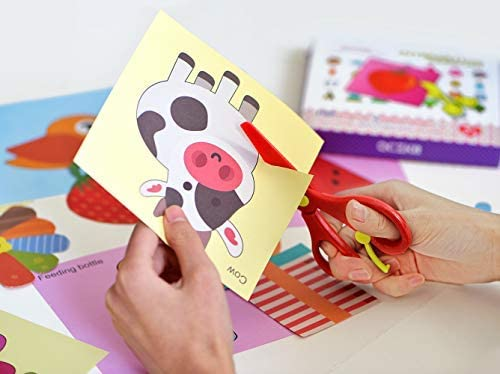 QCZKB Fun Paper-Cut Set,Scissor Activity Cutting Book,Gift Craft Paper Set Kids Toys 100pageswith 2 Pair of Child-Safe Scissors/&1 Pcs Double-Sided Tape Adhesive Sticky(100pages,Pack of 2)