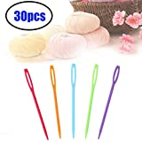 30 Pieces Colorful Large Eye Plastic Sewing Needles ,Safety Plastic Lacing Needles for Crafts: more info
