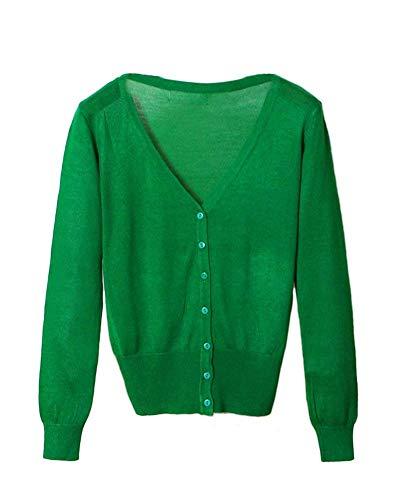 Eleganti Ragazza Comodo Monocromo Primaverile Cappotto Giacca neck Base Lunghe Grün Targogo Donna V Fashion Maglia Casual Maniche A Autunno Button Knit Giacche IvxFq
