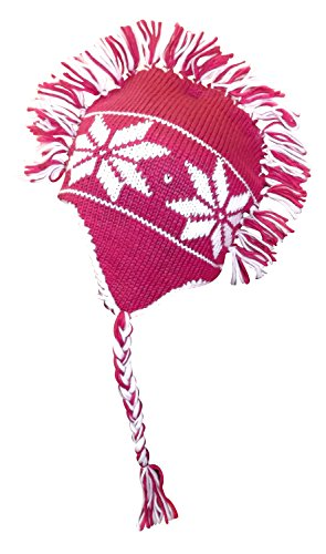 Peach Couture Winter Knit Snowflake Unisex Trooper Trapper Mohawk Fringe Ski Hat (Pink)