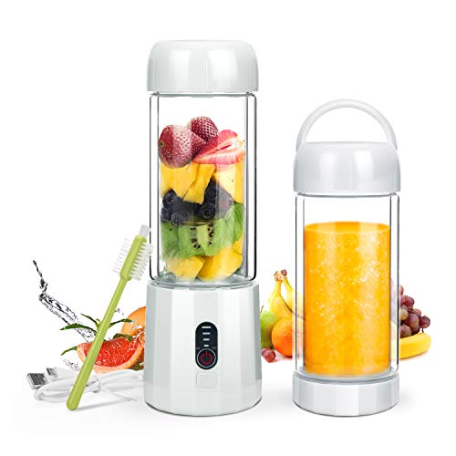 Personal Portable Blender with 480ml Travel Bottle, USB Rechargeable Single Served Smoothie Blender Six Blades in 3D Superb Mixing Personal Size Mixer Fruit Juicer Blender for Shakes and Smoothies