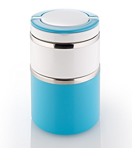 Lunchbox - Thermobox - Warmhaltebox - Brotdose 2 Ebenen (blau)