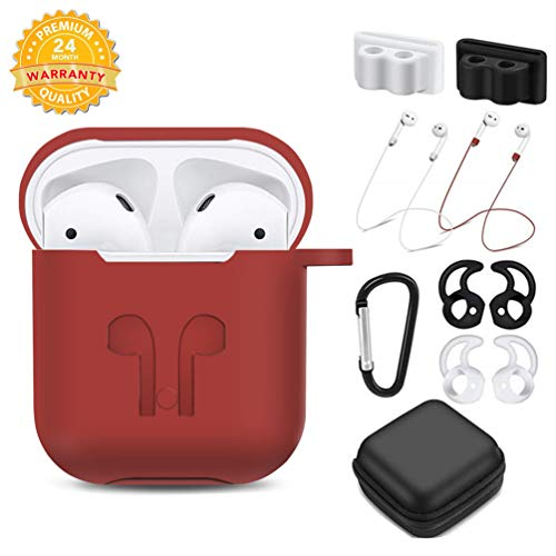 TAOSANHU AirPods Case 9 in 1 Airpods Accessories Kits Protective Silicone Cover and Skin Compatible Apple Airpods 2&1 Charging Case with Airpods Ear Hook/Tips/Airpods Strap/Clips/Watch Band Holder (Apple Ipod Strap)