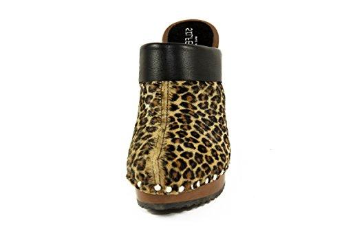 SilferShoes - Zoccolo in pelle di cavallino e vero legno, colore leopardato