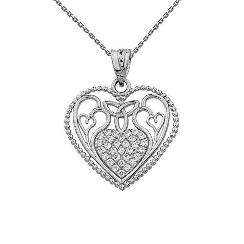 Fine 14k White Gold Diamond Filigree Heart with Trinity Knot Pendant Necklace, 20