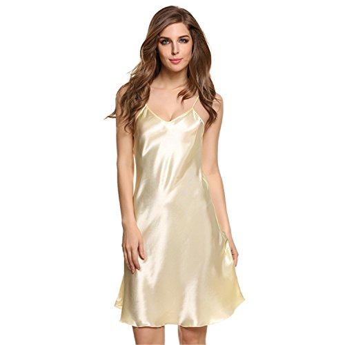 [Musamk VoluptuousNew Stylish Ladies Lingerie Sexy Spaghetti Strap Sleepwear Nightwear Dress Summer Nightdress Solid Satin Women Sleepwear] (Adult Female Minion Plus Size Costumes)