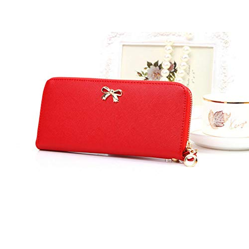Lady Women Long Card Holder Case Wallet Leather Clutch Purse Handbag Fashion Bag (Color - Red)