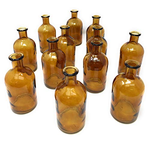- Serene Spaces Living Amber Medicine Bottle Bud Vases, Set of 48 - Antique Glass Bottles, 5.25