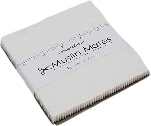 Moda Muslin Mates - Muslin Mates 2018 Charm Pack by Moda Classic; 42-5 inch Precut Fabric Quilt Squares
