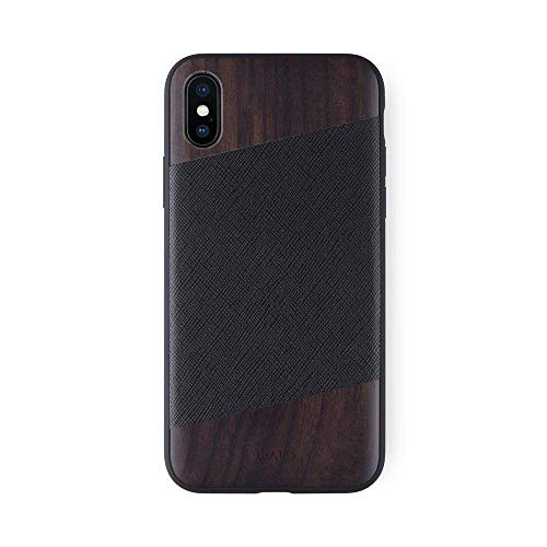 iATO iPhone X Designer Case - Black Saffiano Genuine Leather and Real Bois de Rose Wood Premium Protective Bumper. Unique Snap on Wooden Cover for iPhone X / 10 (2017) | Supports Wireless Charging