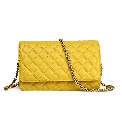 Pouch Leather Purse Crossbody Women Cellphone Shouler Soft Yellow Genuine Clutch Bag 5Y0wqxxZA