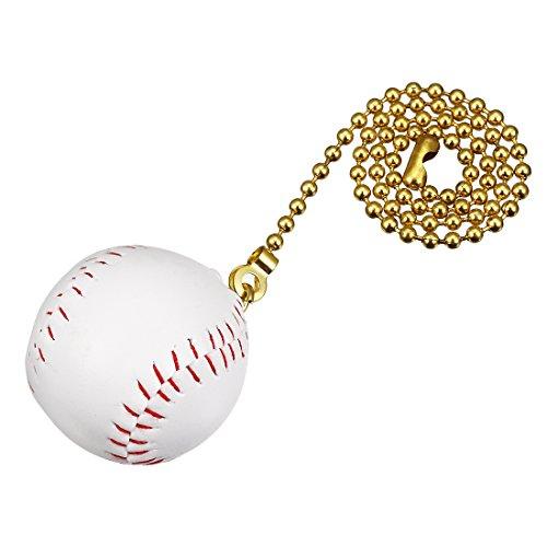 uxcell 12 inch Copper Pull Chain White Baseball Pendant for Ceiling Lighting Fans (Baseball Ceiling Fan Pull)