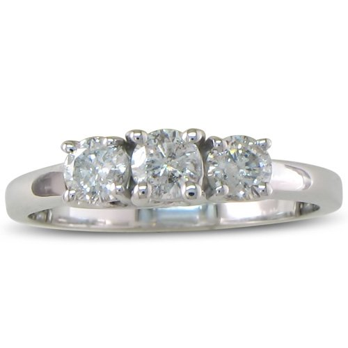 1/2ct Three Diamond Engagement Ring in Sterling Silver, Available Ring Sizes 4 – 9, Ring Size 8