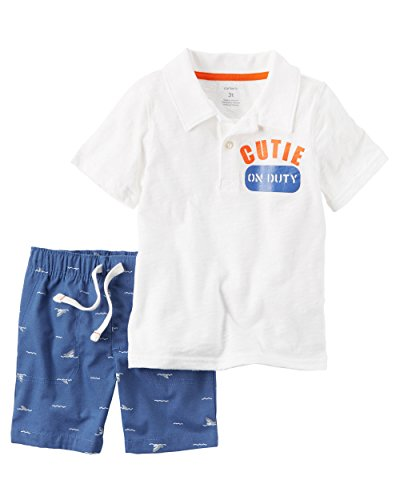 Carter's Baby Boys' 2 Piece Cutie Polo And Shark Printed Shorts Set 9 Months (Coupons Online Polo)