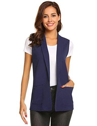 Dealwell Women's Sleeveless Vest Casual Open Front Cardigan Blazer with Pockets (Navy Blue, S)