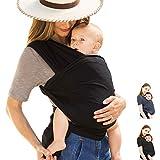 Tiernelle Fular para Bebe Elastico. Rebozo con múltiples amarrados y posiciones. Mantén a tu bebe siempre contigo de manera cómoda y segura. Tela suave, delgada y resistente para la máxima comodidad a tu bebe. (Negro)