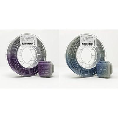 GO-3D Illusion Silver Flake Light Change Blue Purple 3D Printing PLA Filament 2x 225g