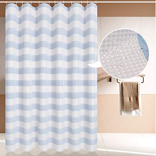 Magnificentex Classic Striped Waffle Weave Fabric Shower Curtain, 72