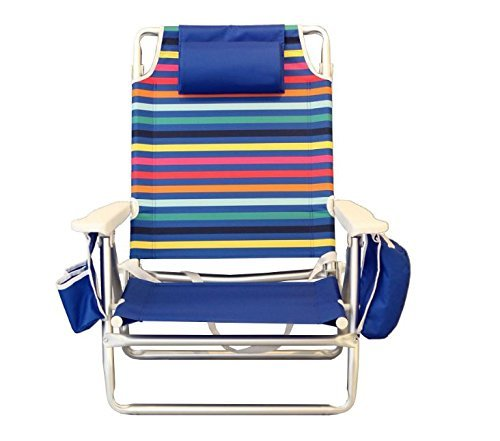 (Nautica Reclining Folding Beach Chair with Insulated Cooler & Cup Holder (Rainbow)
