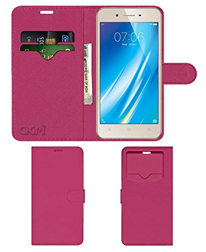 Acm Leather Window Flip Wallet Front  amp; Back Case Compatible with Vivo Y53 Mobile Cover Pink