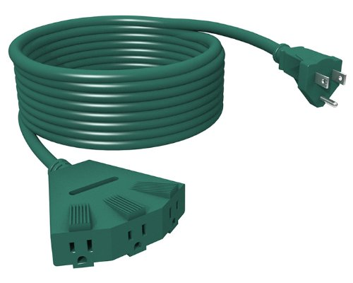 Stanley 31545 Grounded 3-Outlet Outdoor Power Extension Cord 3, 25-Feet, Green
