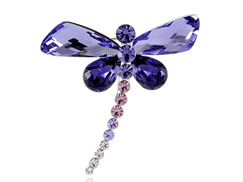 Alilang Silvery Tone Shine Amethyst Swarovski Crystals Dragonfly Bug Brooch Pin
