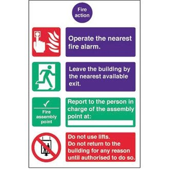 Fire Action Safety Signs / Notice (Self - Adhesive) - make everyone ...