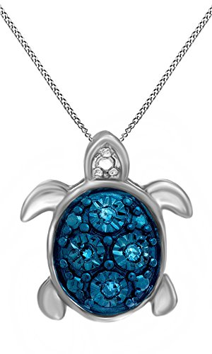 Jewel Zone US Blue Natural Diamond Accent Turtle Pendant Necklace in14k White Gold Over Sterling Silver