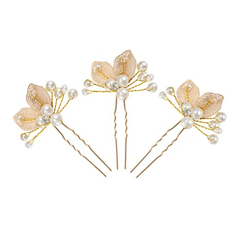3 Pcs Gold Leaf Handmade Pearls and Clear Crystal Bridal Wedding Hair Pins Clips Head Accessories For Women Styling