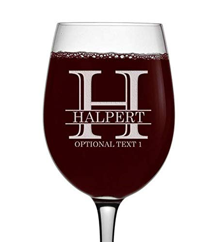 - Personalized Etched Monogram 16oz Stemmed Wine Glass