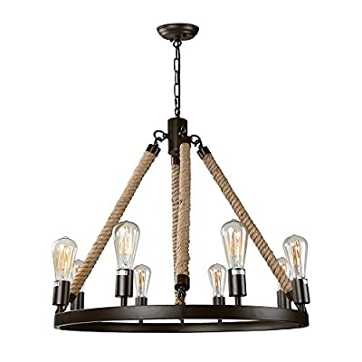 """LNC Farmhouse Chandeliers Large Rustic Round Wagon Wheel 8-Light Fixture with Rope for Dining & Living Room, Bedroom… - [Striking Farmhouse Chandelier] This eye-catching wagon wheel chandelier with an openwork metal frame and four natural ropes, presents a classic yet contemporary farmhouse aesthetics. It transforms natural rope from a functional material to a unique decorative element, adding color and texture that contrasts nicely with the circular metalwork with dark black accents. It's a great option to make an impression in a dining room, entry hall, living room and bedrooms as well as foyer and kitchen [Ideal Dimensions] This elegant luminary is 27 1/2"""" in diameter X 25"""" in height. Large sizes make it a gorgeous centerpiece in any of your rooms. The canopy comes in a 5"""" in diameter and 1"""" in height, designed to fully cover the standard size of the junction box. This hanging light fixture comes with a 59"""" height adjustable chain, giving you the option of adjusting height between 28"""" to 87"""" from ceiling to bottom (It includes 10ft cords for higher ceiling, please contact us to buy extra chain) [Quick Installation] Simple round frames make the installation easier than you think! All you need to do is adjusting the length of chain for proper height, connecting the rope arms and round fixture body, threading the wire through the chain and canopy, wiring (ground: copper wire; Live: with printed character; Neutral: no printed character) and then screwing in the bulbs. The whole installation will take no more than 30 minutes! This chandelier also works on sloped, slanted or vaulted ceiling - kitchen-dining-room-decor, kitchen-dining-room, chandeliers-lighting - 41ttcTU0zIL. SS400  -"""