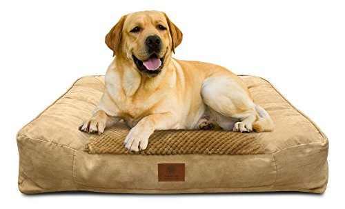 Image of American Kennel Club AKC-1882 Tan Memory Foam Extra Large Pet Sofa Dog Bed, XL, Tan