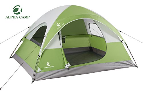 ALPHA CAMP Dome Tent 3 Person Dome Camping Tent with Carry Bag - 8' x 7' Green (Camping People Tents)