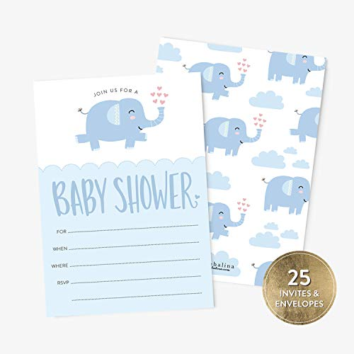 25 Baby Shower Invitation Boy with Envelopes, Blue Elephant Baby Shower Fill-in Style Invitation, Blue Baby Boy Shower Invitations, Baby Shower Invitations