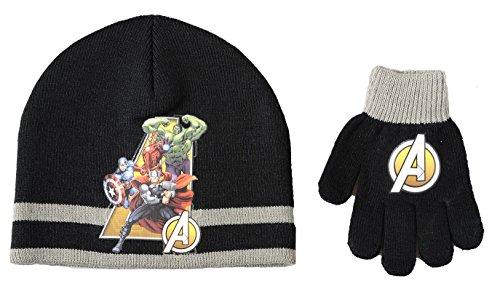 Boys Avengers Super Heros Beanie Hat /& Gloves Set