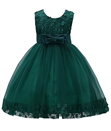 (Little Girls Princess Dresses Size 5-6 Long Floor Length Holiday Party Dress for Girls Green Sleeveless Flower Ball Grown Lace Tulle Bridesmaid Bridal Dress Ruffle Evening Dress (Green)