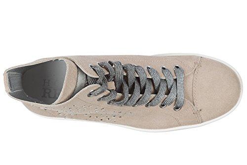 Hogan Rebel Zapatos Zapatillas de Deporte Largas Mujer EN Ante Nuevo r182 Beige