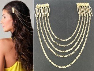 Fashion Golden Ladies Girls Decorative Hair Combs with Chain Tassels