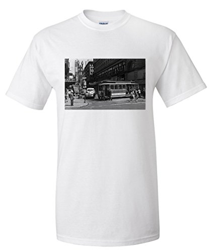 San Francisco, California - View of a Cable Car on Powell and Market Streets - Vintage Photograph (White T-Shirt - Sf Street Powell