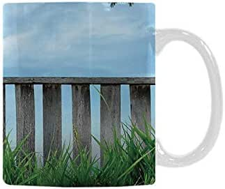 Patio Decor Utility White Printed Mug,Wooden Seem Terrace Veranda with Olive Trees in Open Sky Photo for Home Office,11oz