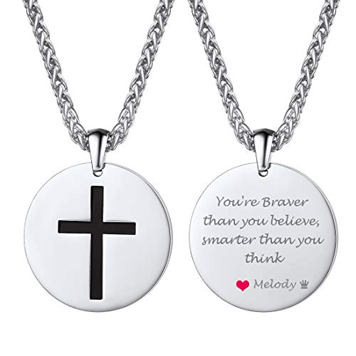 U7 Customized Coin Medal Necklace Men Women Stainless Steel Cross Charm Text Engrave Pendant Necklace