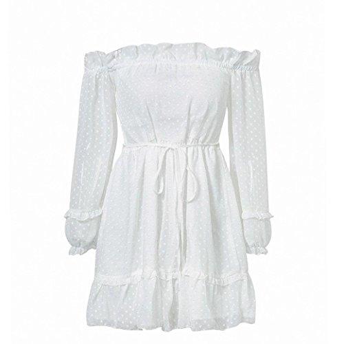 Del JUWOJIA Partito Manica Abito Boho Verde Solido Vestito Lunga Bianco Volant Bianco Elegante Abito A Spiaggia Chiffon nHrqC4H0wx
