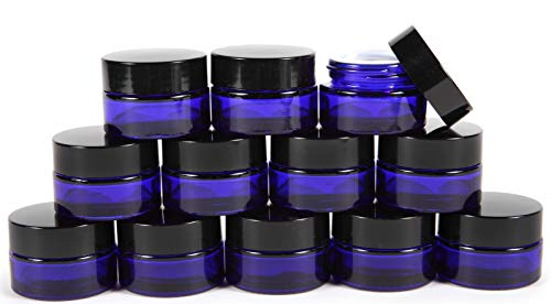 Vivaplex, 12, Cobalt Blue, 15 ml, Round Glass Jars, with Inner Liners and black Lids