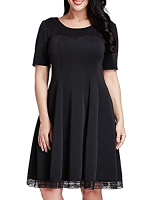 Grapent Women's Plus Size Skater A-line Dress with Crochet Hem Knee Length Party