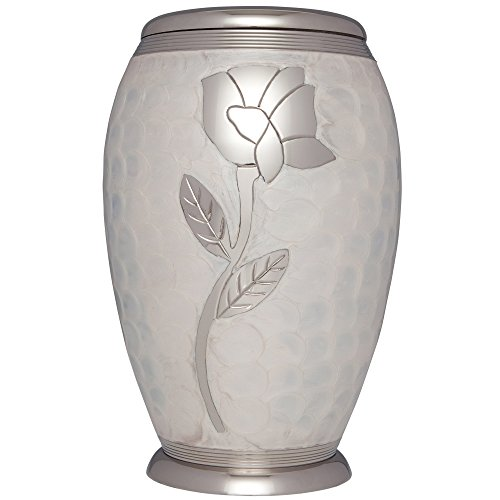 Urn Home Decor - Funeral Urn by Liliane - Cremation Urn for Human or Pet Ashes - Hand Made in Brass & Hand Engraved - Display Urn at Home or in Niche at Columbarium -Talia Model (White Enamel with Silver Flower,Adult)