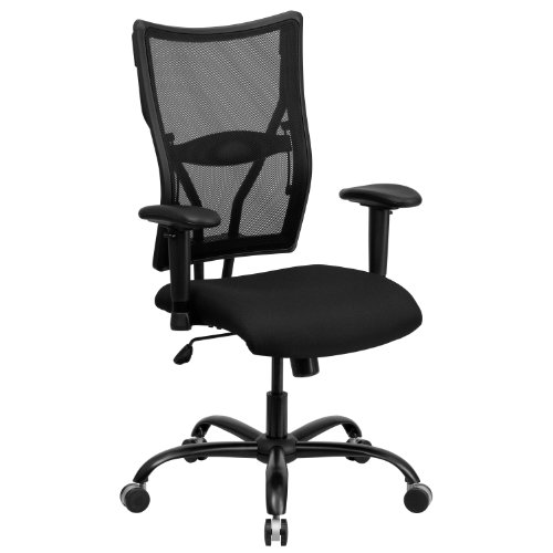 Seat Adjustment Swivel Series Pneumatic (Flash Furniture HERCULES Series Big & Tall 400 lb. Rated Black Mesh Executive Swivel Chair with Adjustable Arms)