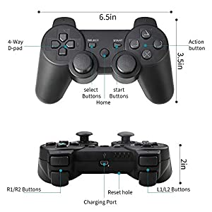 PS3 Controller Wireless, PS3 Joystick, PS3 Remote, Wireless PS3 Controller Double Shock Gamepad Compatible for Playstation 3, Coming with Skin Cover,Thumb Grips and Mini USB Cable(Black) (Color: Black)