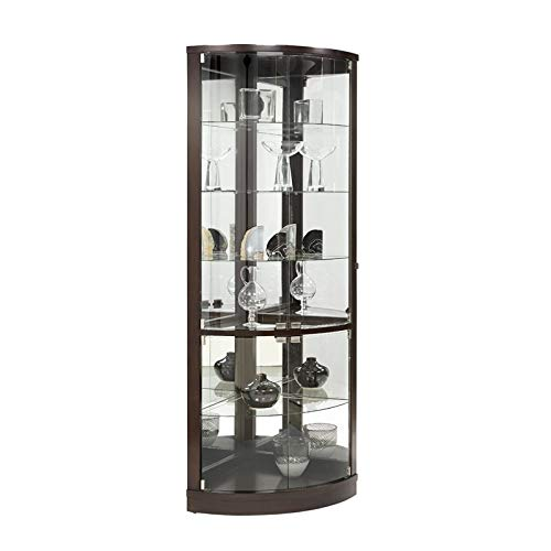 Home Fare Sable Mirrored Back Curved Corner Curio (Curio Cabinet Curved Glass With)